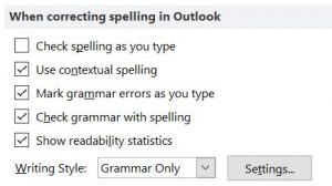 Outlook 1010 settings: When correcting spelling in Outlook