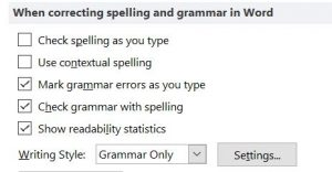 When correcting spelling and grammar in Word: settings