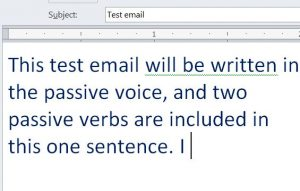 Outlook 2010: test sentence with passive verb underlined