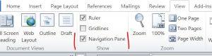 Screenshot: tick box for viewing navigation pane